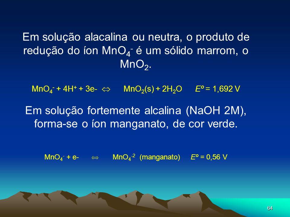 64 Em solução alacalina ou neutra, o produto de redução do íon MnO 4 - é um sólido marrom, o MnO 2. MnO 4 - + 4H + + 3e- MnO 2 (s) + 2H 2 O Eº = 1,692