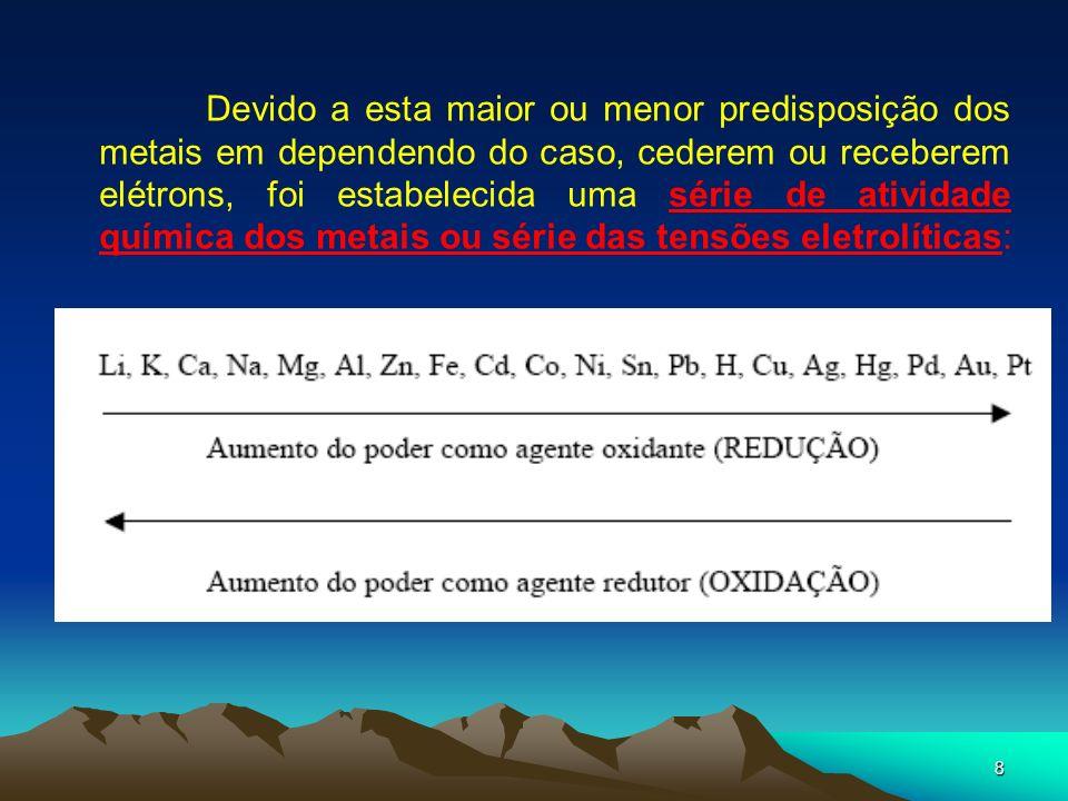 8 Devido a esta maior ou menor predisposição dos metais em dependendo do caso, cederem ou receberem elétrons, foi estabelecida uma série de atividade