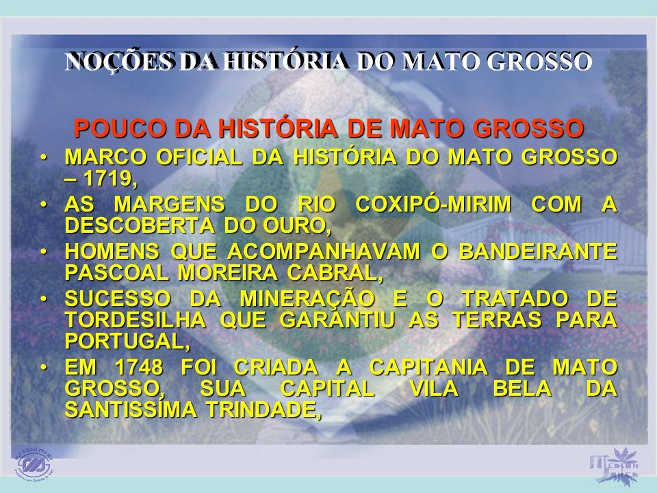 NOÇÕES DA HISTÓRIA DO MATO GROSSO POUCO DA HISTÓRIA DE MATO GROSSO MARCO OFICIAL DA HISTÓRIA DO MATO GROSSO – 1719,MARCO OFICIAL DA HISTÓRIA DO MATO G