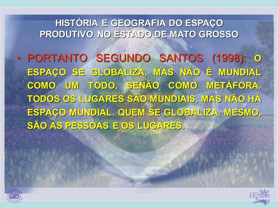 PORTANTO SEGUNDO SANTOS (1998): O ESPAÇO SE GLOBALIZA, MAS NÃO É MUNDIAL COMO UM TODO, SENÃO COMO METÁFORA. TODOS OS LUGARES SÃO MUNDIAIS, MAS NÃO HÁ