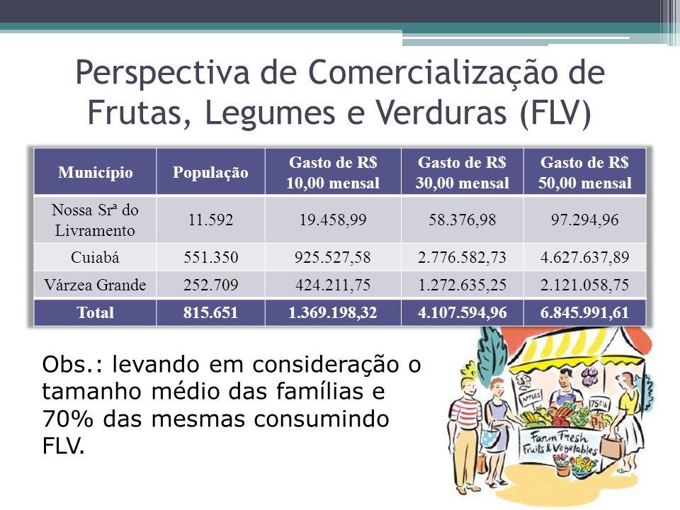 Perspectiva de Comercialização de Frutas, Legumes e Verduras (FLV) Obs.: levando em consideração o tamanho médio das famílias e 70% das mesmas consumi