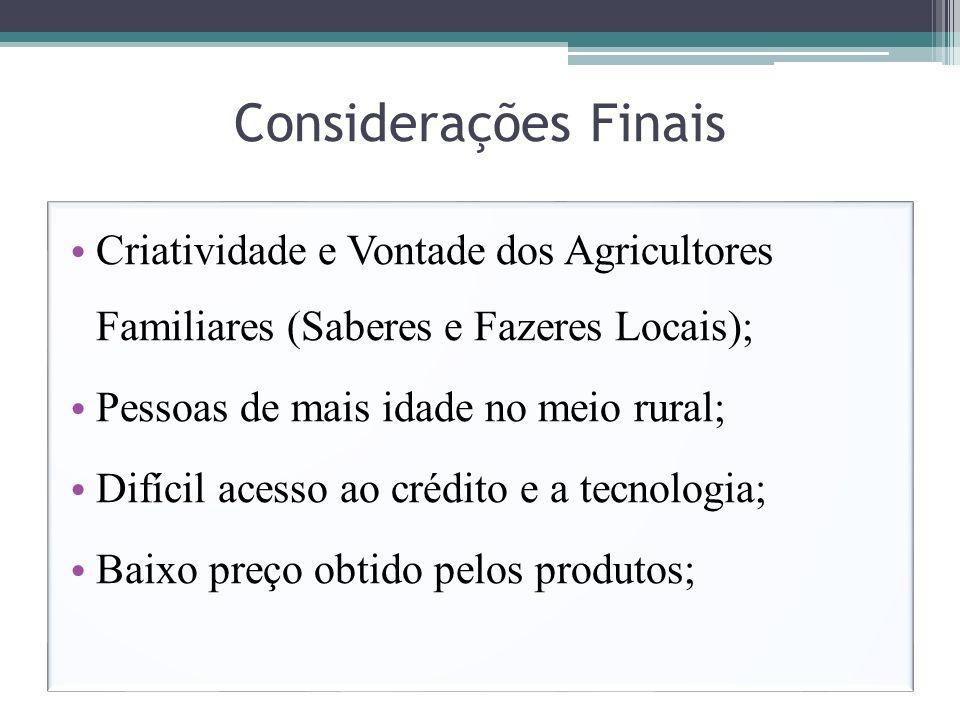Considerações Finais Criatividade e Vontade dos Agricultores Familiares (Saberes e Fazeres Locais); Pessoas de mais idade no meio rural; Difícil acess