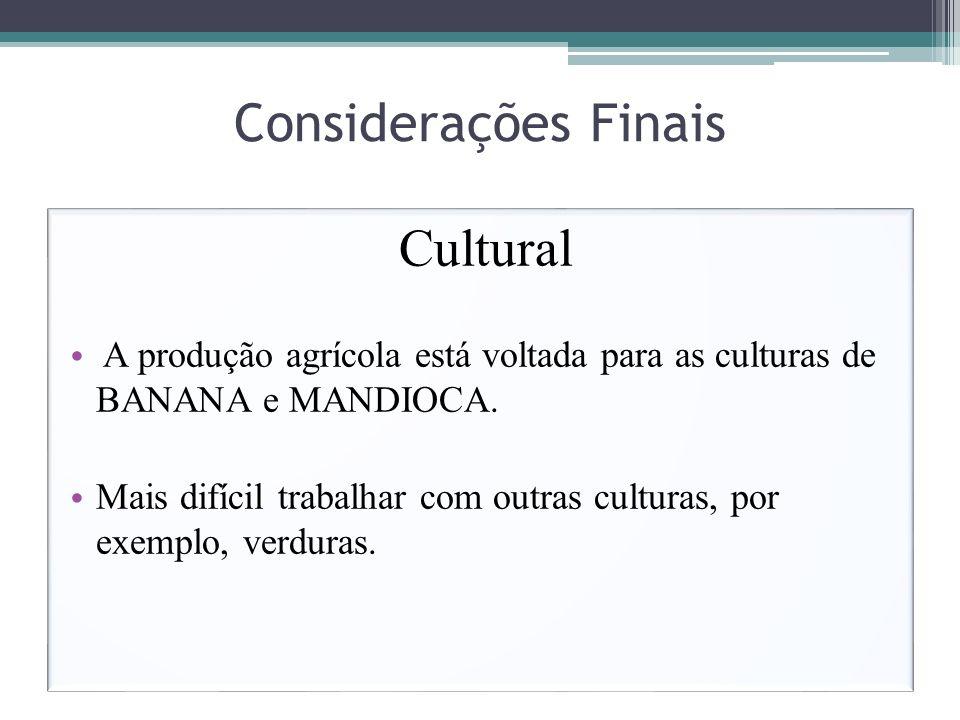 Considerações Finais Cultural A produção agrícola está voltada para as culturas de BANANA e MANDIOCA. Mais difícil trabalhar com outras culturas, por