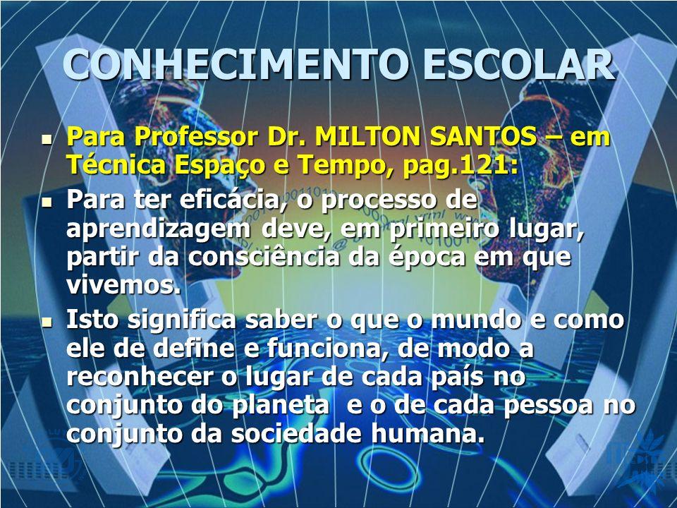 CONHECIMENTO ESCOLAR Para Professor Dr. MILTON SANTOS – em Técnica Espaço e Tempo, pag.121: Para Professor Dr. MILTON SANTOS – em Técnica Espaço e Tem