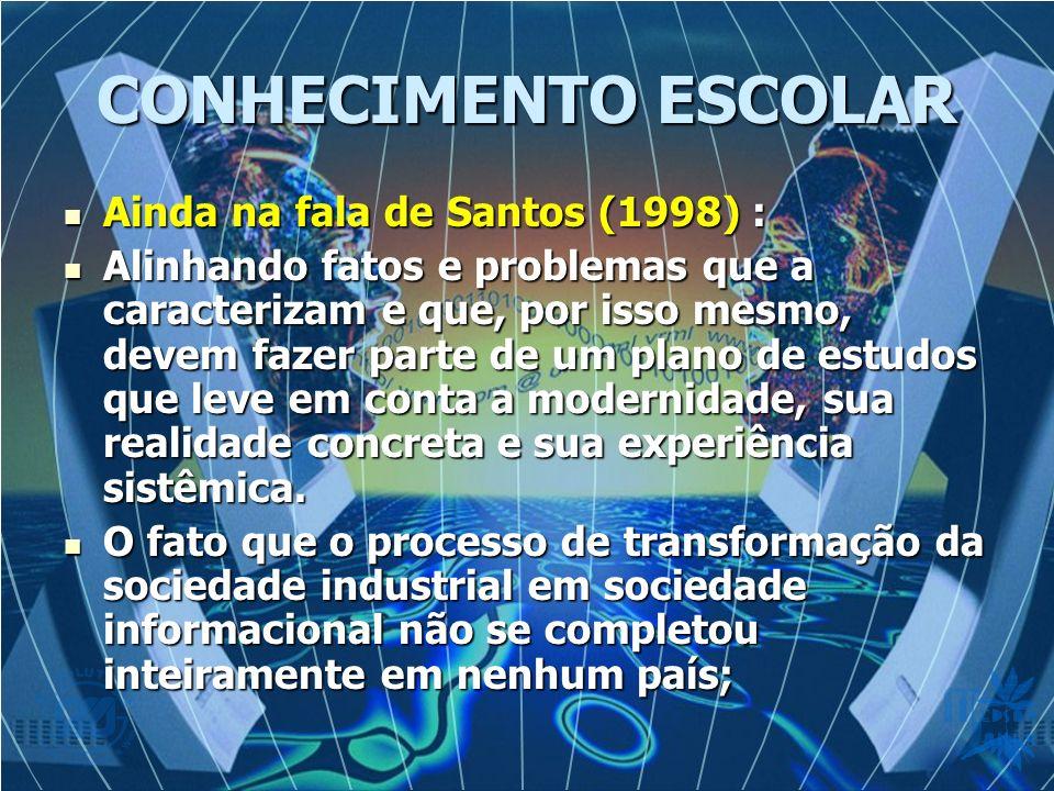 CONHECIMENTO ESCOLAR Ainda na fala de Santos (1998) : Ainda na fala de Santos (1998) : Alinhando fatos e problemas que a caracterizam e que, por isso