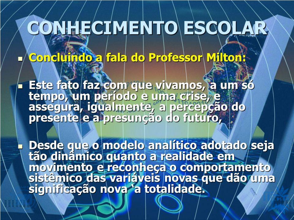 CONHECIMENTO ESCOLAR Concluindo a fala do Professor Milton: Concluindo a fala do Professor Milton: Este fato faz com que vivamos, a um só tempo, um pe