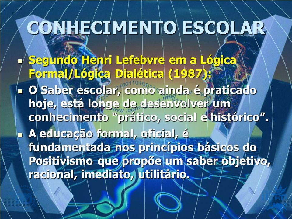 CONHECIMENTO ESCOLAR Segundo Henri Lefebvre em a Lógica Formal/Lógica Dialética (1987): Segundo Henri Lefebvre em a Lógica Formal/Lógica Dialética (1987): O Saber escolar, como ainda é praticado hoje, está longe de desenvolver um conhecimento prático, social e histórico.