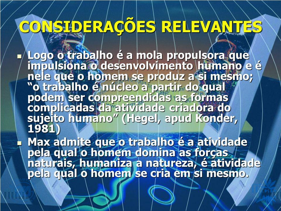 CONSIDERAÇÕES RELEVANTES Logo o trabalho é a mola propulsora que impulsiona o desenvolvimento humano e é nele que o homem se produz a si mesmo; o trabalho é núcleo a partir do qual podem ser compreendidas as formas complicadas da atividade criadora do sujeito humano (Hegel, apud Konder, 1981) Logo o trabalho é a mola propulsora que impulsiona o desenvolvimento humano e é nele que o homem se produz a si mesmo; o trabalho é núcleo a partir do qual podem ser compreendidas as formas complicadas da atividade criadora do sujeito humano (Hegel, apud Konder, 1981) Max admite que o trabalho é a atividade pela qual o homem domina as forças naturais, humaniza a natureza, é atividade pela qual o homem se cria em si mesmo.