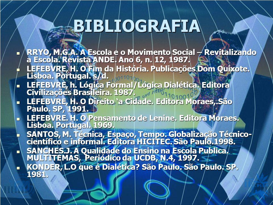 BIBLIOGRAFIA RRYO, M.G.A.A Escola e o Movimento Social – Revitalizando a Escola.