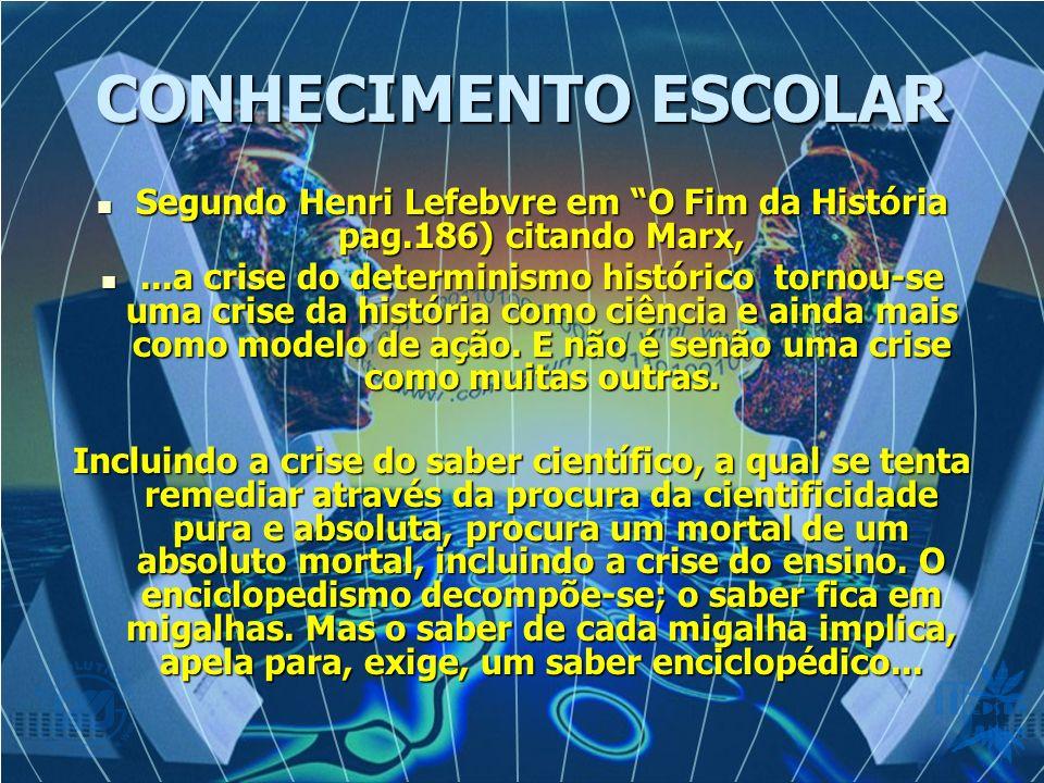CONHECIMENTO ESCOLAR Segundo Henri Lefebvre em O Fim da História pag.186) citando Marx, Segundo Henri Lefebvre em O Fim da História pag.186) citando M