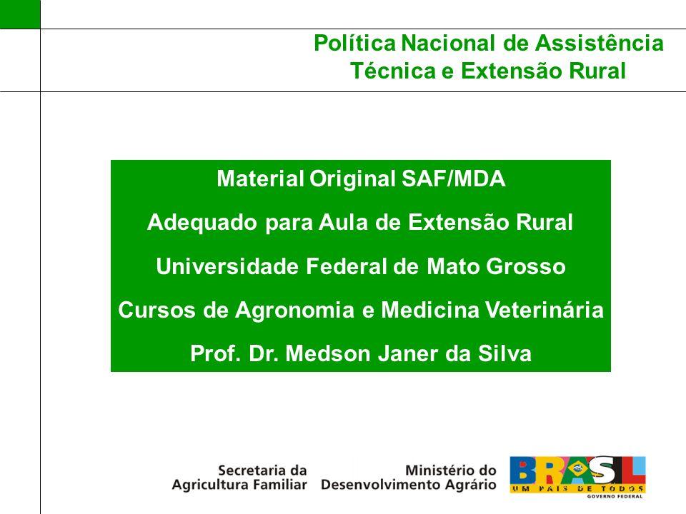 Política Nacional de Assistência Técnica e Extensão Rural Lei 11.326 – 24/07/2006 AGRICULTURA FAMILIAR (AF); Lei 11.947/2009 – 30% recursos FNDE AF; Lei 12.188 – 11/01/2010 PNATER