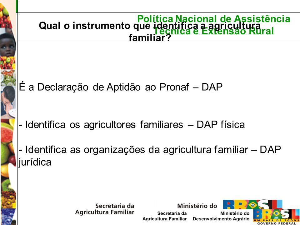 Política Nacional de Assistência Técnica e Extensão Rural Qual o instrumento que identifica a agricultura familiar? É a Declaração de Aptidão ao Prona