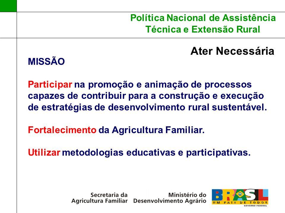 Política Nacional de Assistência Técnica e Extensão Rural Ater Necessária MISSÃO Participar na promoção e animação de processos capazes de contribuir