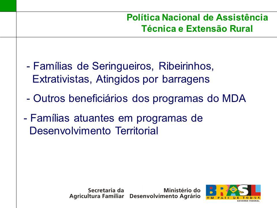 Política Nacional de Assistência Técnica e Extensão Rural - Famílias de Seringueiros, Ribeirinhos,...Extrativistas, Atingidos.por barragens - Outros b