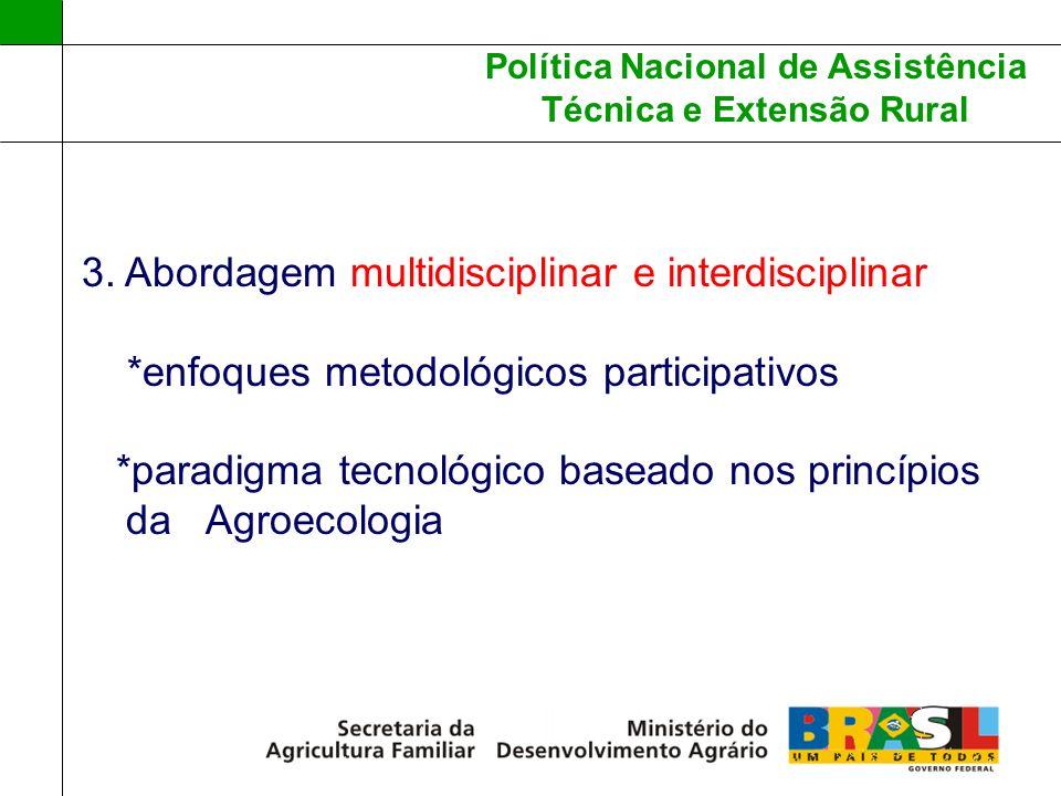 Política Nacional de Assistência Técnica e Extensão Rural 3. Abordagem multidisciplinar e interdisciplinar *enfoques metodológicos participativos *par