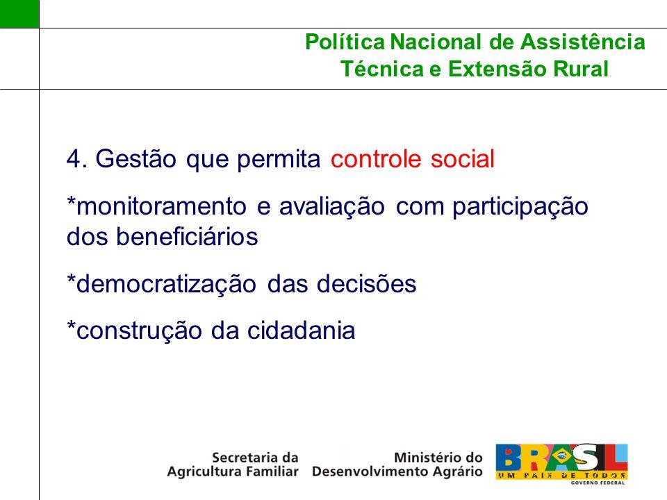Política Nacional de Assistência Técnica e Extensão Rural 4. Gestão que permita controle social *monitoramento e avaliação com participação dos benefi