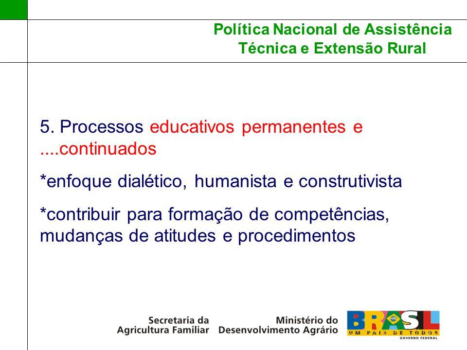 Política Nacional de Assistência Técnica e Extensão Rural 5. Processos educativos permanentes e....continuados *enfoque dialético, humanista e constru