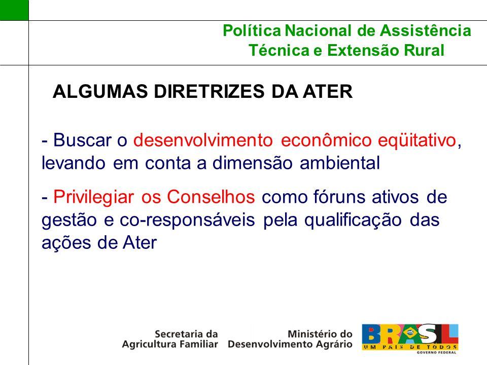 Política Nacional de Assistência Técnica e Extensão Rural ALGUMAS DIRETRIZES DA ATER - Buscar o desenvolvimento econômico eqüitativo, levando em conta