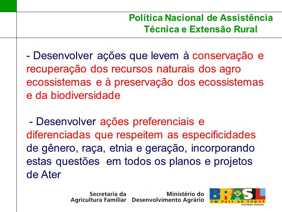 Política Nacional de Assistência Técnica e Extensão Rural - Desenvolver ações que levem à conservação e recuperação dos recursos naturais dos agro eco