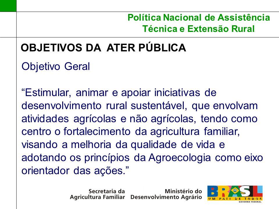 Política Nacional de Assistência Técnica e Extensão Rural OBJETIVOS DA ATER PÚBLICA Objetivo Geral Estimular, animar e apoiar iniciativas de desenvolv