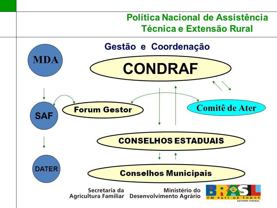 Política Nacional de Assistência Técnica e Extensão Rural Gestão e Coordenação CONDRAF Comitê de Ater Forum Gestor MDA SAF DATER CONSELHOS ESTADUAIS C
