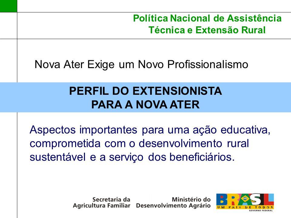 Política Nacional de Assistência Técnica e Extensão Rural Nova Ater Exige um Novo Profissionalismo PERFIL DO EXTENSIONISTA PARA A NOVA ATER Aspectos i