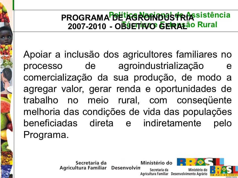 Política Nacional de Assistência Técnica e Extensão Rural PROGRAMA DE AGROINDÚSTRIA 2007-2010 - OBJETIVO GERAL Apoiar a inclusão dos agricultores fami