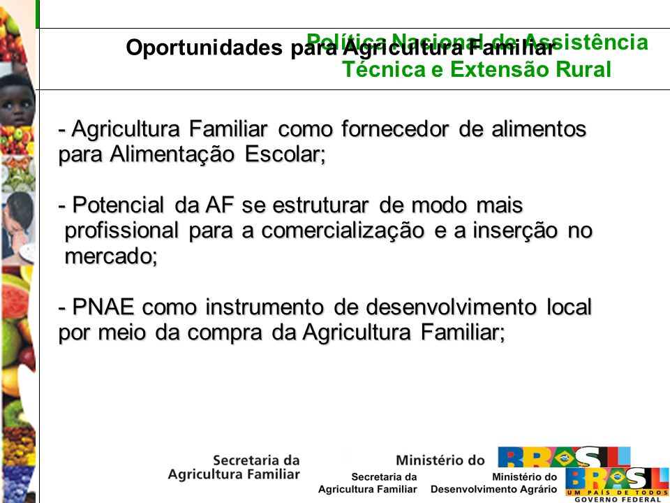 Política Nacional de Assistência Técnica e Extensão Rural Oportunidades para Agricultura Familiar - Agricultura Familiar como fornecedor de alimentos