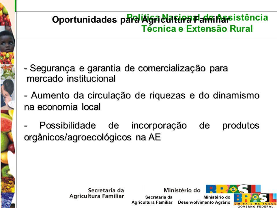 Política Nacional de Assistência Técnica e Extensão Rural Oportunidades para Agricultura Familiar - Segurança e garantia de comercialização para merca