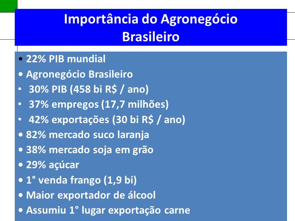 Política Nacional de Assistência Técnica e Extensão Rural Importância do Agronegócio Brasileiro 22% PIB mundial Agronegócio Brasileiro 30% PIB (458 bi