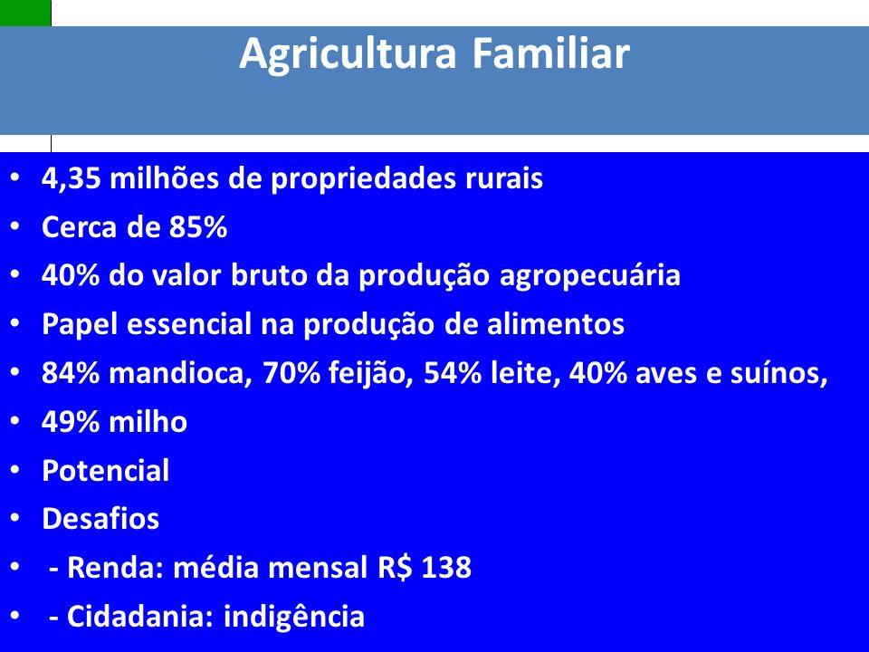 Política Nacional de Assistência Técnica e Extensão Rural Agricultura Familiar 4,35 milhões de propriedades rurais Cerca de 85% 40% do valor bruto da