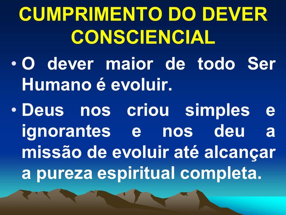 CUMPRIMENTO DO DEVER CONSCIENCIAL O dever maior de todo Ser Humano é evoluir. Deus nos criou simples e ignorantes e nos deu a missão de evoluir até al