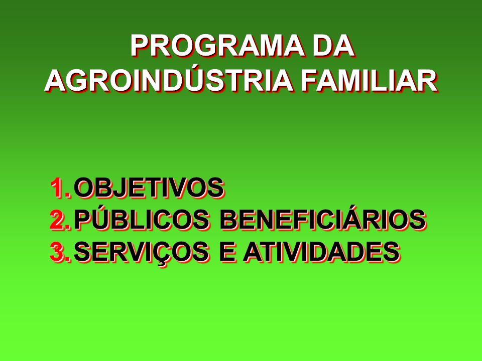 PROGRAMA DA AGROINDÚSTRIA FAMILIAR 1.OBJETIVOS 2.PÚBLICOS BENEFICIÁRIOS 3.SERVIÇOS E ATIVIDADES 1.OBJETIVOS 2.PÚBLICOS BENEFICIÁRIOS 3.SERVIÇOS E ATIV