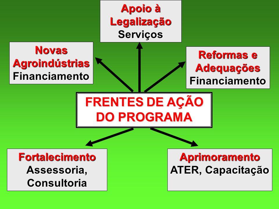 FRENTES DE AÇÃO DO PROGRAMA Novas Agroindústrias Financiamento Reformas e Adequações Financiamento Apoio à Legalização Serviços Fortalecimento Assesso