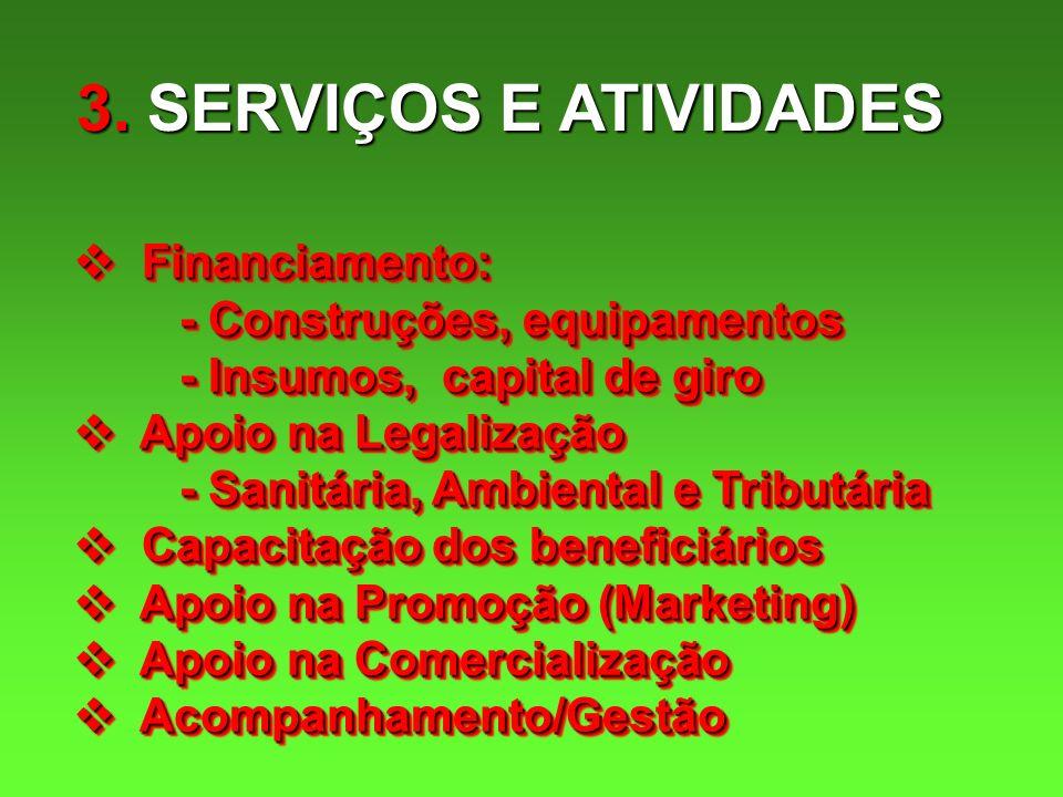 3. SERVIÇOS E ATIVIDADES Financiamento: Financiamento: - Construções, equipamentos - Insumos, capital de giro Apoio na Legalização Apoio na Legalizaçã
