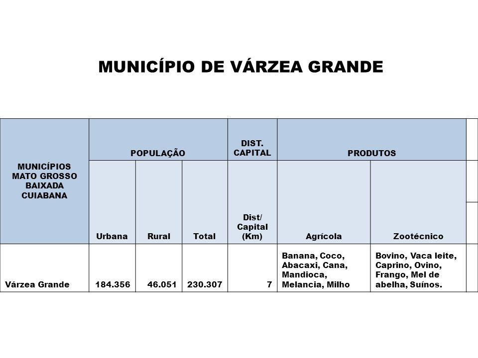 MUNICÍPIOS MATO GROSSO BAIXADA CUIABANA POPULAÇÃO DIST. CAPITALPRODUTOS UrbanaRuralTotal Dist/ Capital (Km)AgrícolaZootécnico Várzea Grande184.35646.0