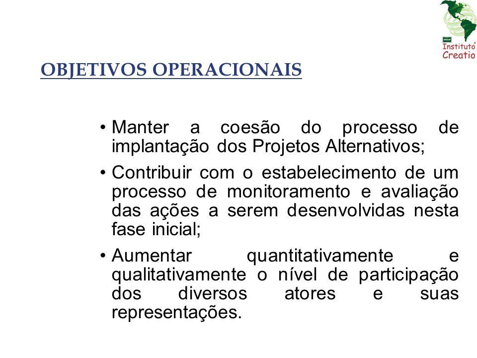 OBJETIVOS OPERACIONAIS Manter a coesão do processo de implantação dos Projetos Alternativos; Contribuir com o estabelecimento de um processo de monito