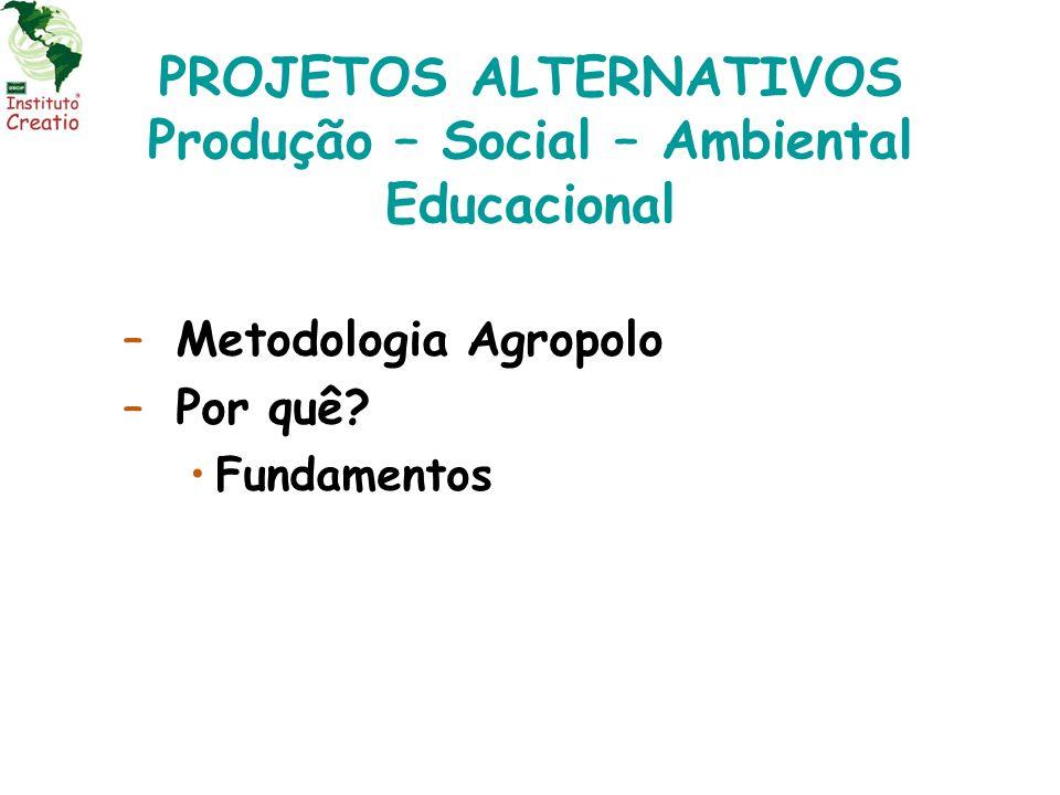 –Metodologia Agropolo –Por quê? Fundamentos PROJETOS ALTERNATIVOS Produção – Social – Ambiental Educacional