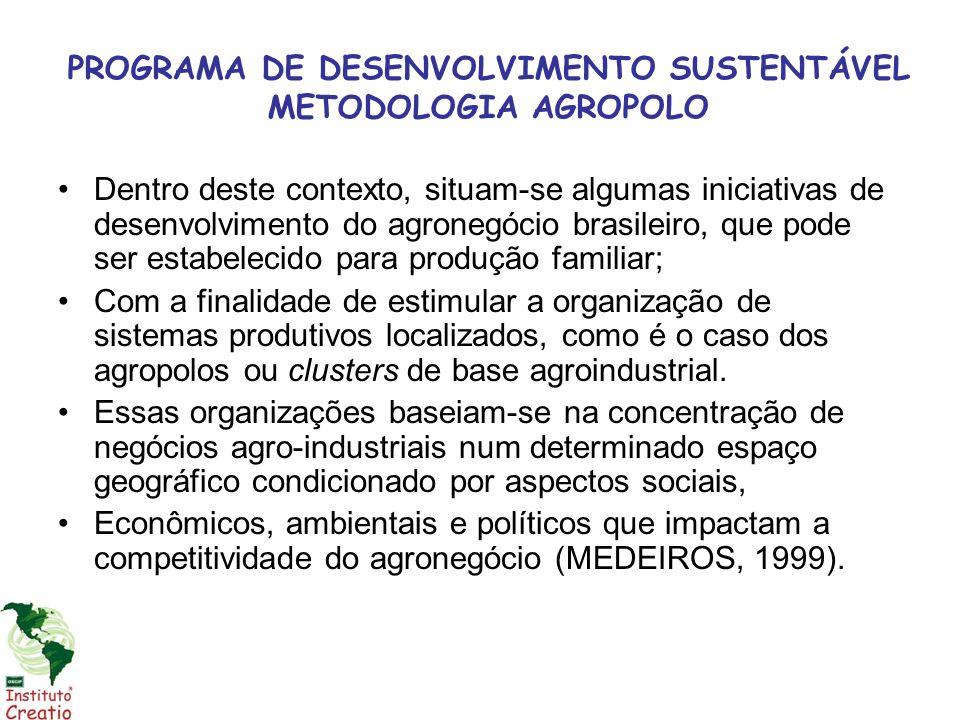 PROGRAMA DE DESENVOLVIMENTO SUSTENTÁVEL METODOLOGIA AGROPOLO Dentro deste contexto, situam-se algumas iniciativas de desenvolvimento do agronegócio br
