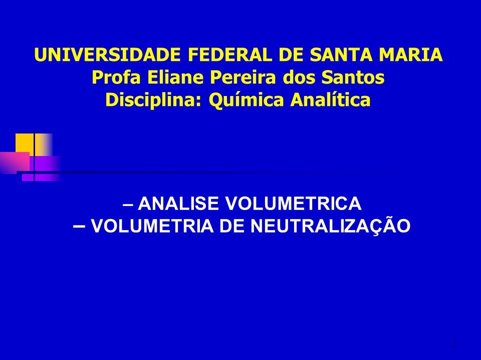 1 – ANALISE VOLUMETRICA – VOLUMETRIA DE NEUTRALIZAÇÃO UNIVERSIDADE FEDERAL DE SANTA MARIA Profa Eliane Pereira dos Santos Disciplina: Química Analític