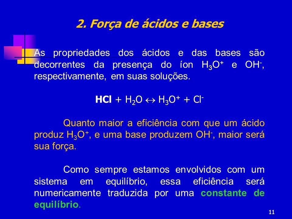 11 As propriedades dos ácidos e das bases são decorrentes da presença do íon H 3 O + e OH -, respectivamente, em suas soluções. HCl + H 2 O H 3 O + +