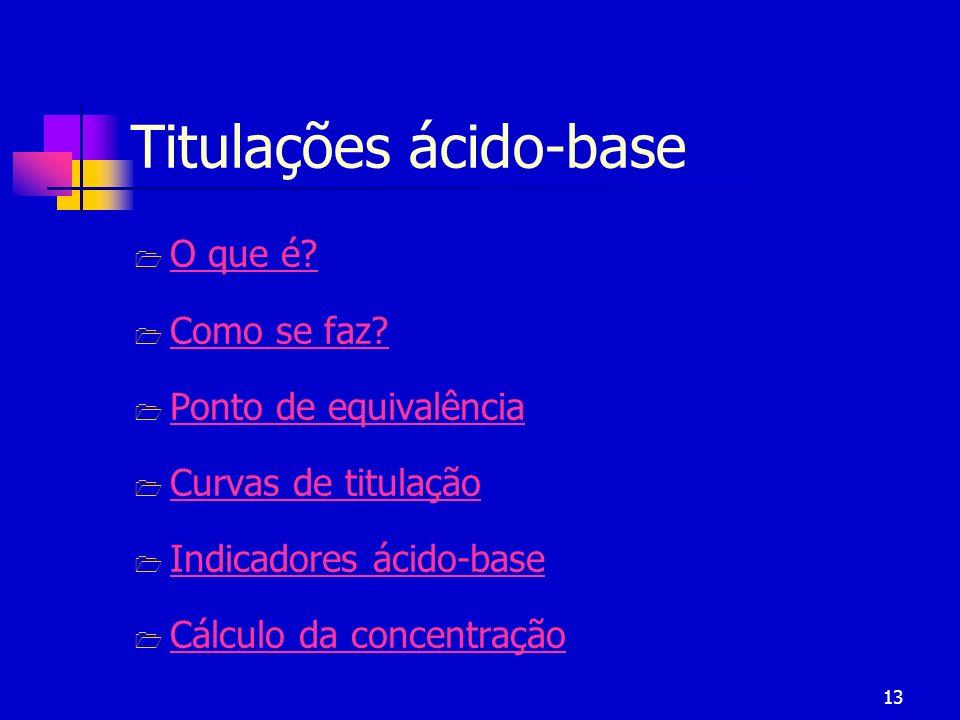 13 Titulações ácido-base O que é? Como se faz? Ponto de equivalência Curvas de titulação Indicadores ácido-base Cálculo da concentração