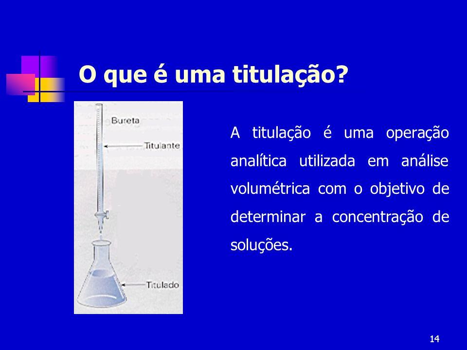 14 O que é uma titulação? A titulação é uma operação analítica utilizada em análise volumétrica com o objetivo de determinar a concentração de soluçõe