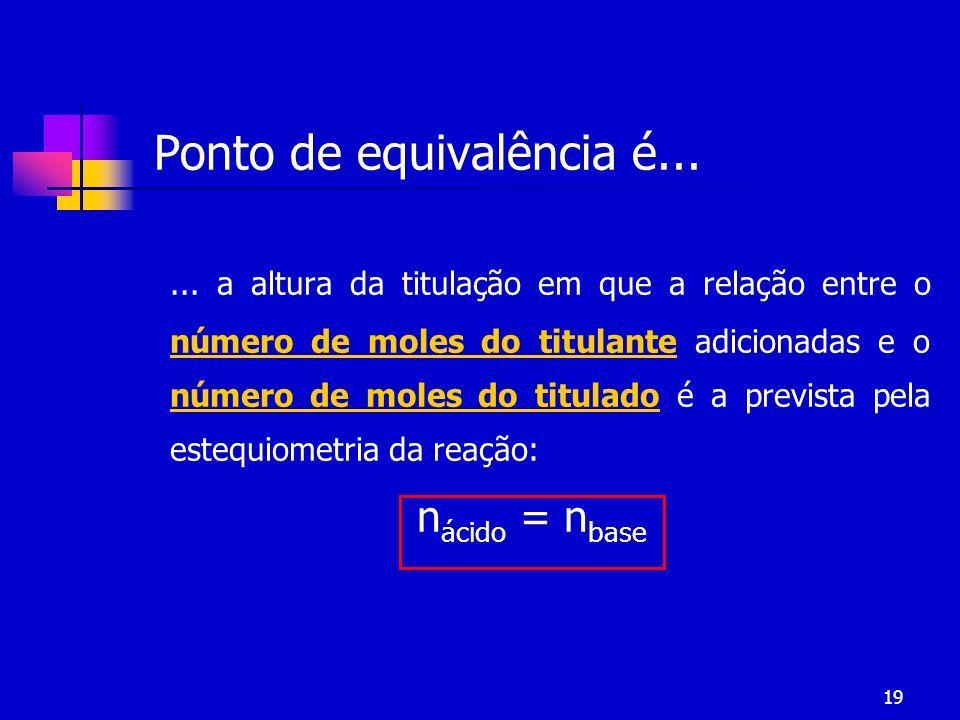 19 Ponto de equivalência é...... a altura da titulação em que a relação entre o número de moles do titulante adicionadas e o número de moles do titula
