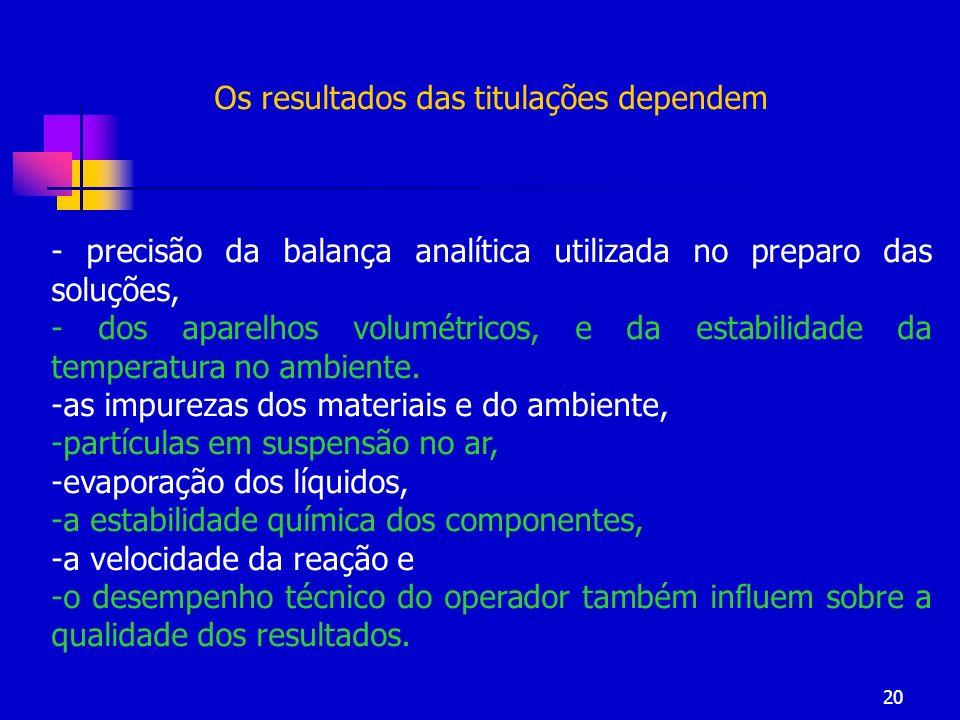 20 Os resultados das titulações dependem - precisão da balança analítica utilizada no preparo das soluções, - dos aparelhos volumétricos, e da estabil