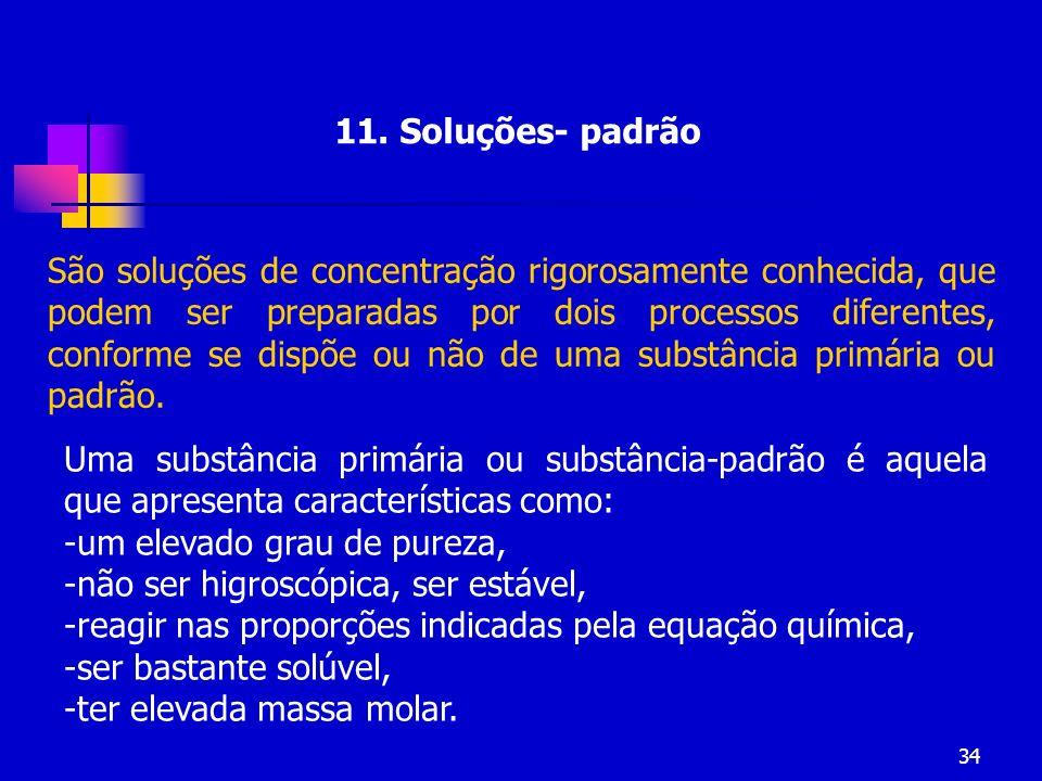 34 11. Soluções- padrão São soluções de concentração rigorosamente conhecida, que podem ser preparadas por dois processos diferentes, conforme se disp