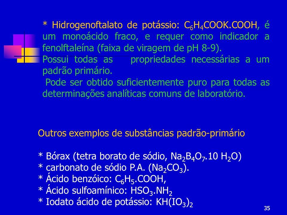 35 Outros exemplos de substâncias padrão-primário * Bórax (tetra borato de sódio, Na 2 B 4 O 7.10 H 2 O) * carbonato de sódio P.A. (Na 2 CO 3 ). * Áci