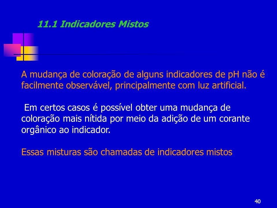 40 11.1 Indicadores Mistos A mudança de coloração de alguns indicadores de pH não é facilmente observável, principalmente com luz artificial. Em certo