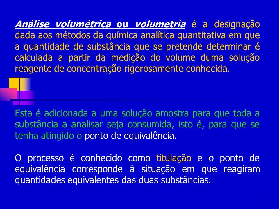 6 Na análise volumétrica determinamos qual o volume de uma solução de concentração conhecida (A) que é necessária e suficiente para reagir completamente com um volume de solução cuja concentração se pretende determinar (B) dando origem a um produto (C).