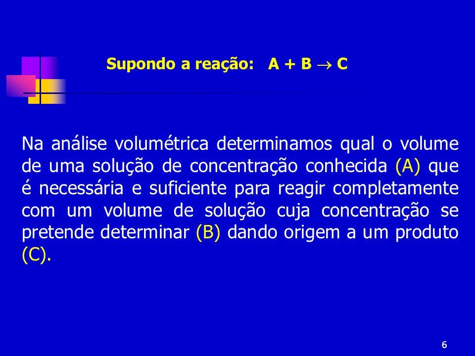 6 Na análise volumétrica determinamos qual o volume de uma solução de concentração conhecida (A) que é necessária e suficiente para reagir completamen